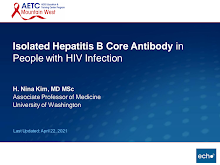 Thumbnail image of Google Slides Presentation of Isolated Hepatitis B Core Antibody in People with HIV Infection.