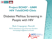 Thumbnail image of Google Slides Presentation of Diabetes Mellitus Screening in People with HIV.