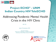 Thumbnail image of Google Slides Presentation of Addressing Pandemic Mental Health Crisis in the HIV Clinic.