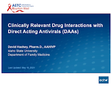 Thumbnail image of Google Slides Presentation of Clinically Relevant Drug Interactions with Direct Acting Antivirals (DAAs).